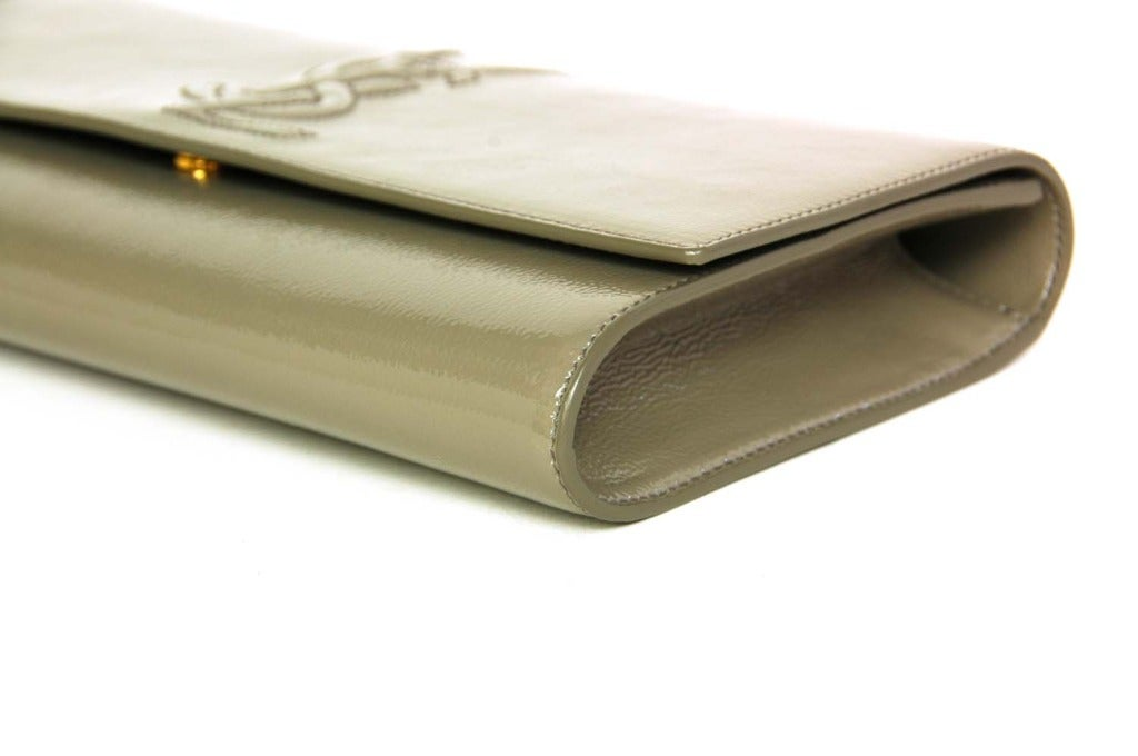ysl grey patent leather clutch bag