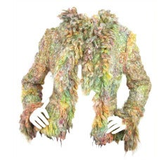 CHANEL Green/Pink Mohair Fantasy Tweed Jacket with Scarf c. 2003 Sz. 44