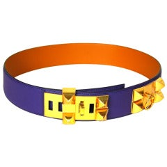 HERMES New Dark Purple Leather Collier De Chien CDC Belt With Gold Hardware, Box