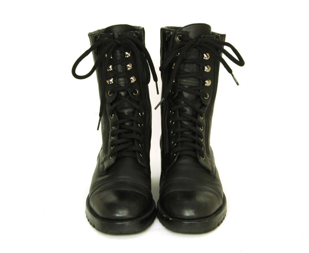 Chanel Quilted Leather Combat Boots Leather Combat Boots c