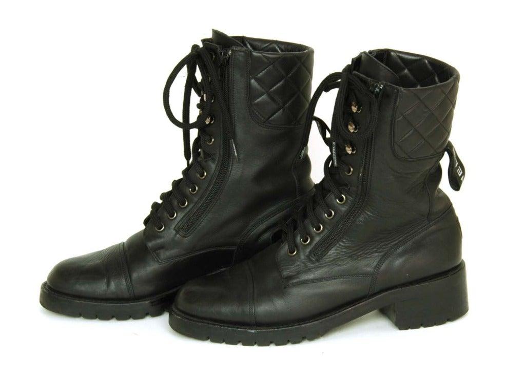 Chanel Vintage Black Leather Combat Boots C 1990s Sz 40