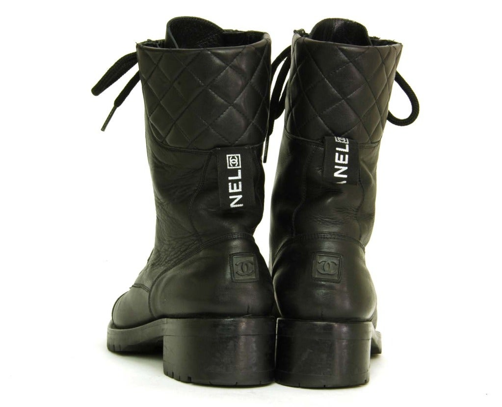 Women's CHANEL Vintage Black Leather Combat Boots c. 1990s Sz. 40/41 For Sale