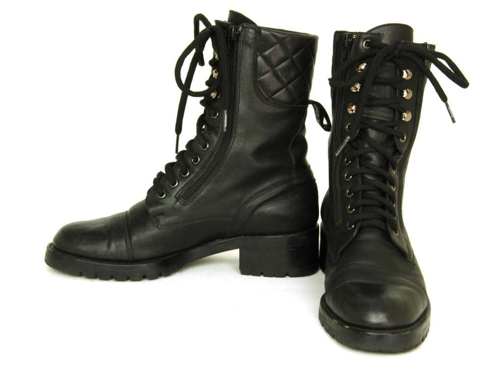 CHANEL Vintage Black Leather Combat Boots c. 1990s Sz. 40/41 5