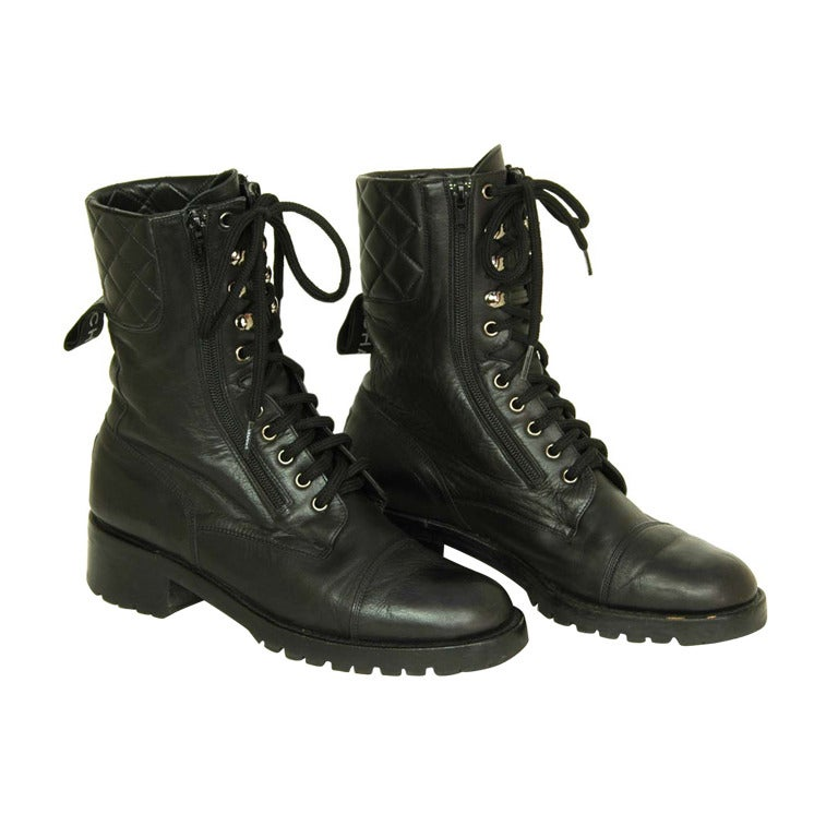 CHANEL Vintage Black Leather Combat Boots c. 1990s Sz. 40/41 For Sale