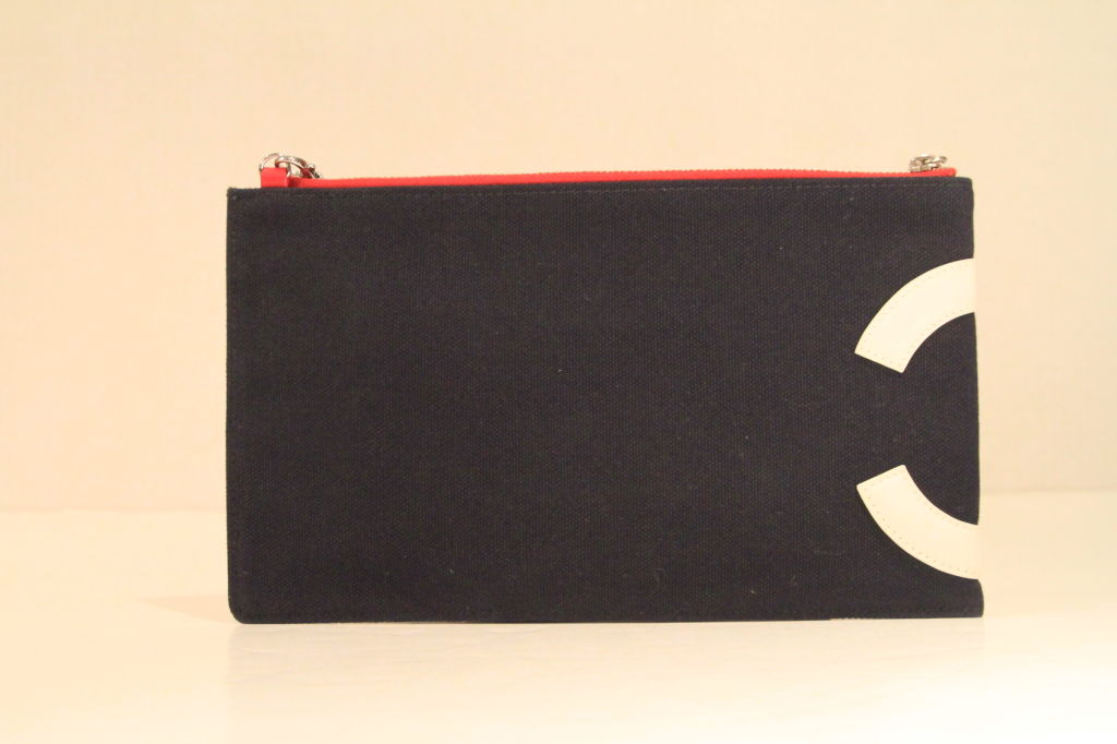Chanel 2003 Navy/Red/Silver Canvas Leather Flag CC Pochette Bag 3