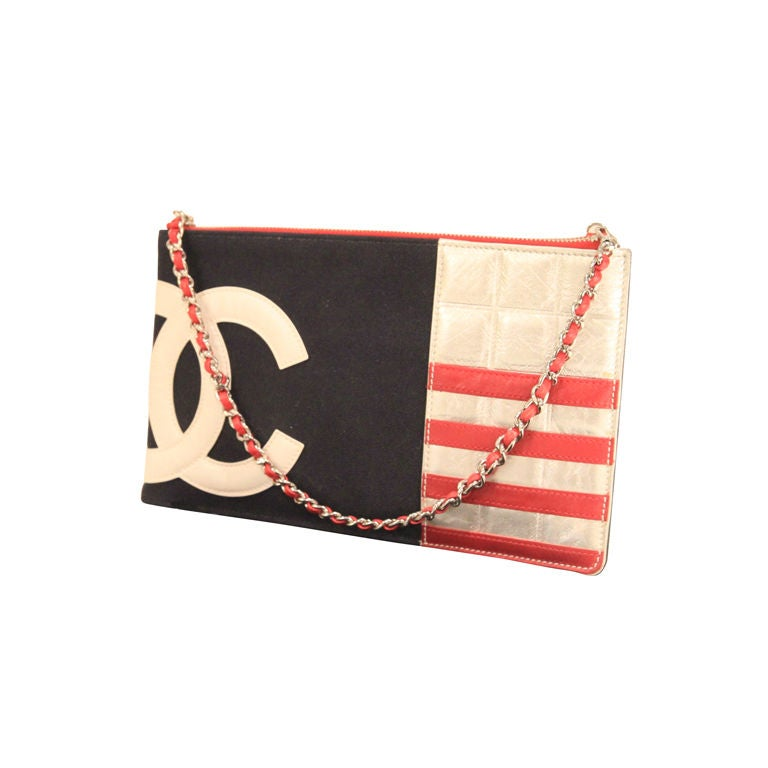 Chanel 2003 Navy/Red/Silver Canvas Leather Flag CC Pochette Bag 1