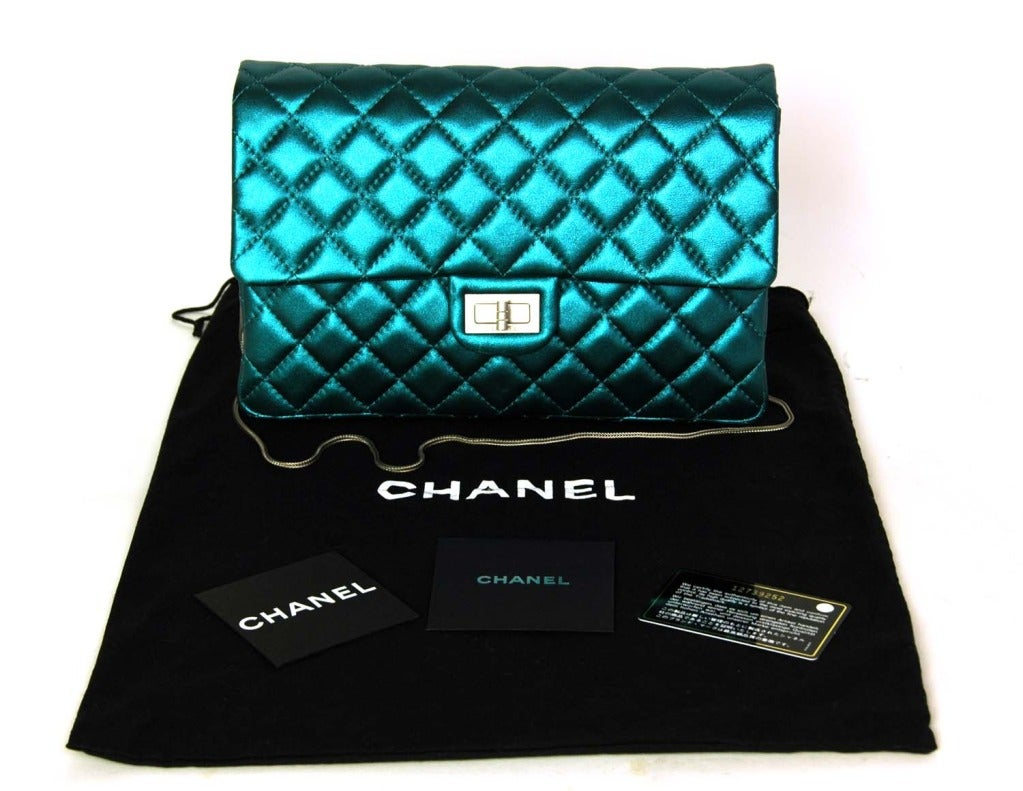CHANEL Metallic Turquoise Quilted Classic Reissue Clutch W. SHW, Chain Strap image 2