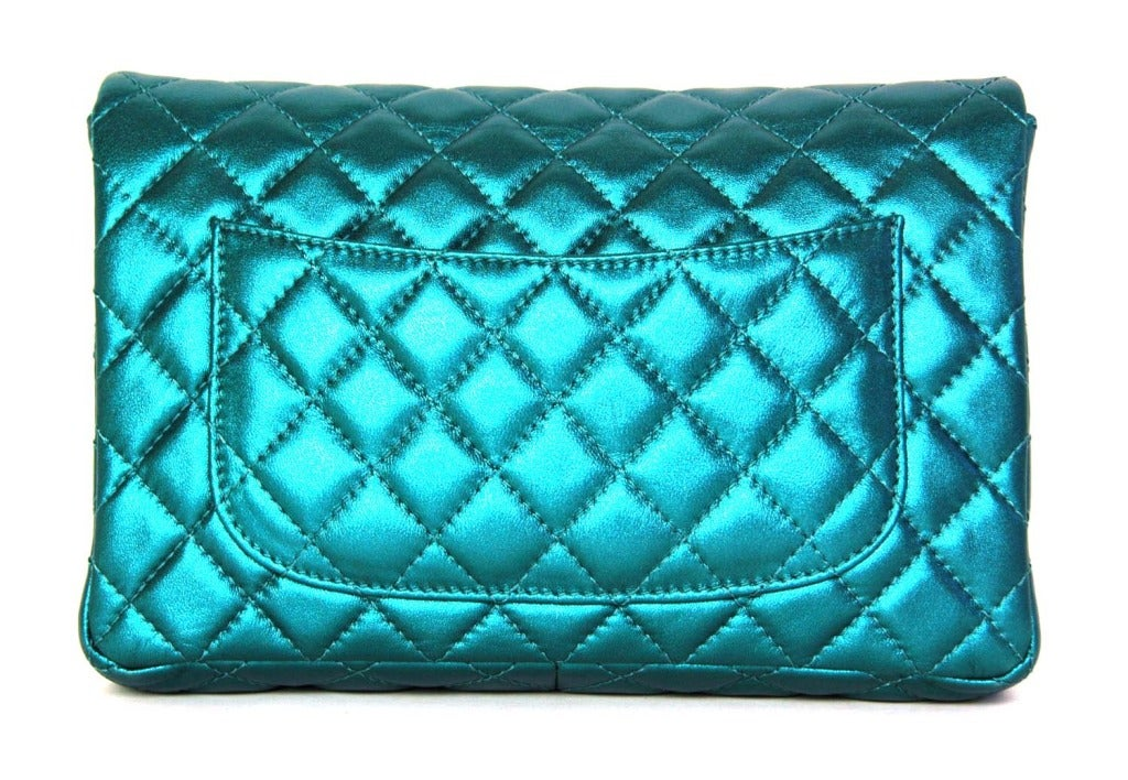 CHANEL Metallic Turquoise Quilted Classic Reissue Clutch W. SHW, Chain Strap image 4