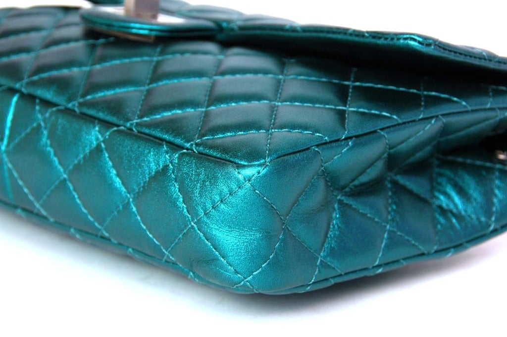 CHANEL Metallic Turquoise Quilted Classic Reissue Clutch W. SHW, Chain Strap image 5