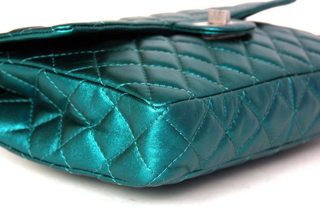 CHANEL Metallic Turquoise Quilted Classic Reissue Clutch W. SHW, Chain Strap image 6