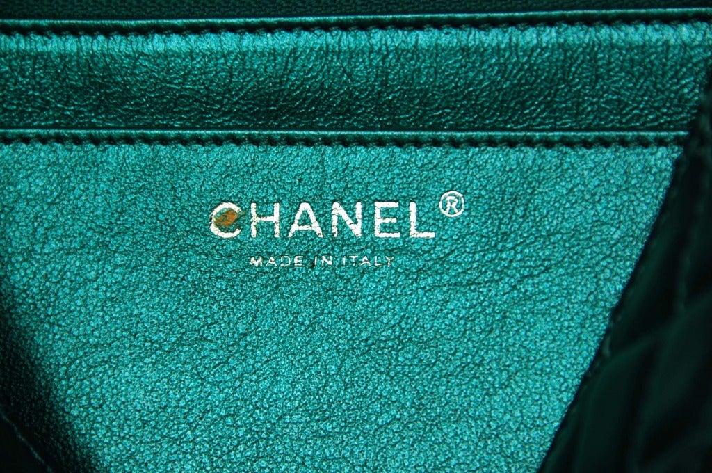 CHANEL Metallic Turquoise Quilted Classic Reissue Clutch W. SHW, Chain Strap image 8