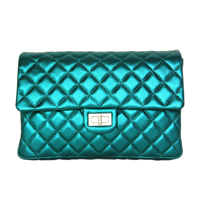 CHANEL Metallic Turquoise Quilted Classic Reissue Clutch W. SHW, Chain Strap