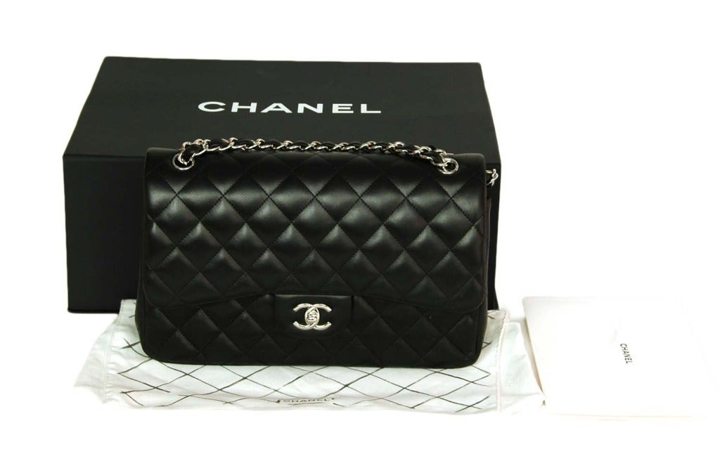 CHANEL Black Lambskin Leather Quilted Double Flap Jumbo Bag W. SHW c. 2012 2