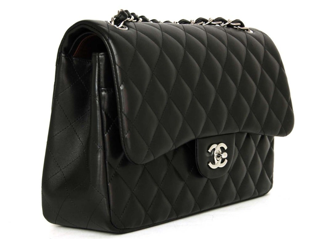 CHANEL Black Lambskin Leather Quilted Double Flap Jumbo Bag W. SHW c. 2012 3