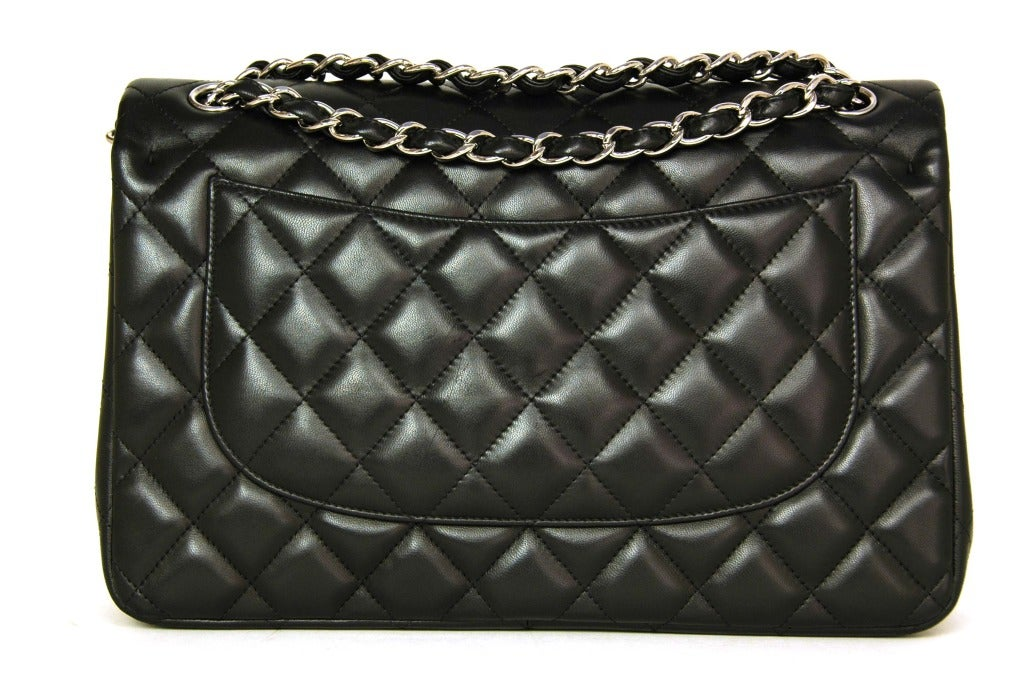 CHANEL Black Lambskin Leather Quilted Double Flap Jumbo Bag W. SHW c. 2012 4