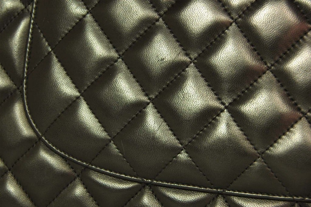 CHANEL Black Lambskin Leather Quilted Double Flap Jumbo Bag W. SHW c. 2012 8