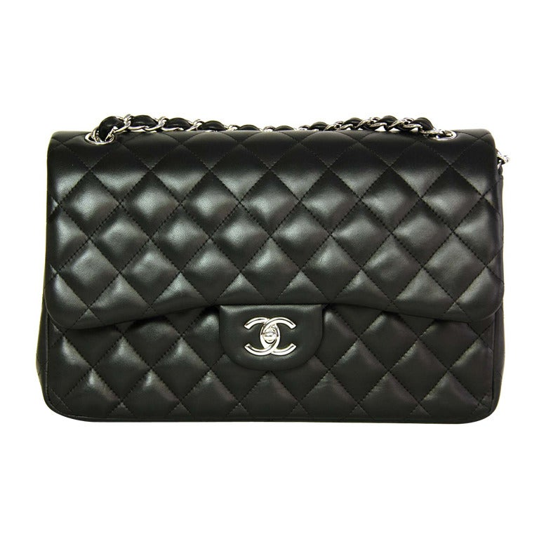 CHANEL Black Lambskin Leather Quilted Double Flap Jumbo Bag W. SHW c. 2012 1