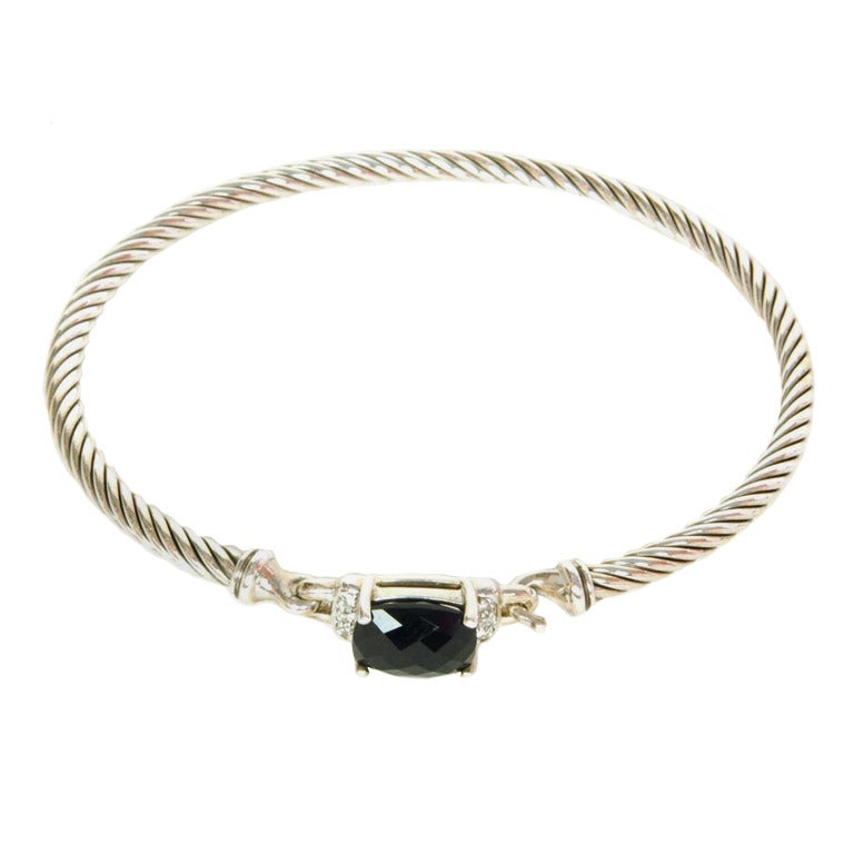 David yurman sterling silver cable bracelet w black onyx for David yurman like bracelets
