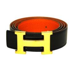 HERMES Gold Logo H Buckle W. Reversible Black/Orange Belt Sz. 95 2005