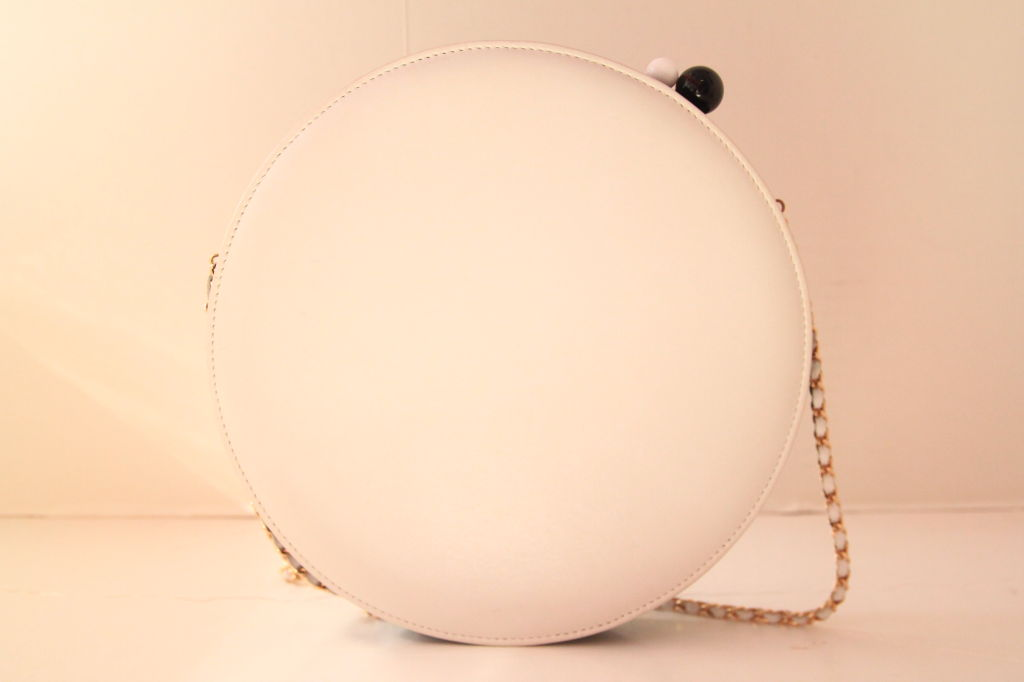 CHANEL BLACK/WHITE LAMBSKIN ROUND LIMITED EDITION RUNWAY BAG 2