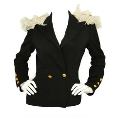 CHANEL black jacket w. ruffles and buttons