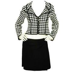 HERVE LEGER Black/White Arrow Print Jacket With Black Skirt - Size X-Large