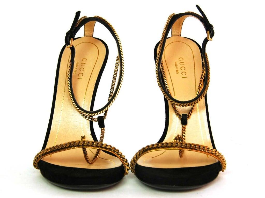 GUCCI NIB 'Ophelie' Black Suede T-Strap Heels Sz. 37/7 RT. $1,495 2