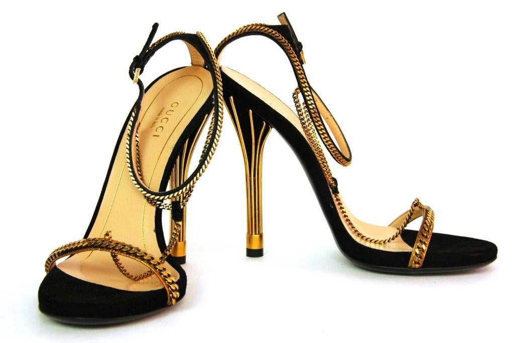 GUCCI NIB 'Ophelie' Black Suede T-Strap Heels Sz. 37/7 RT. $1,495 3