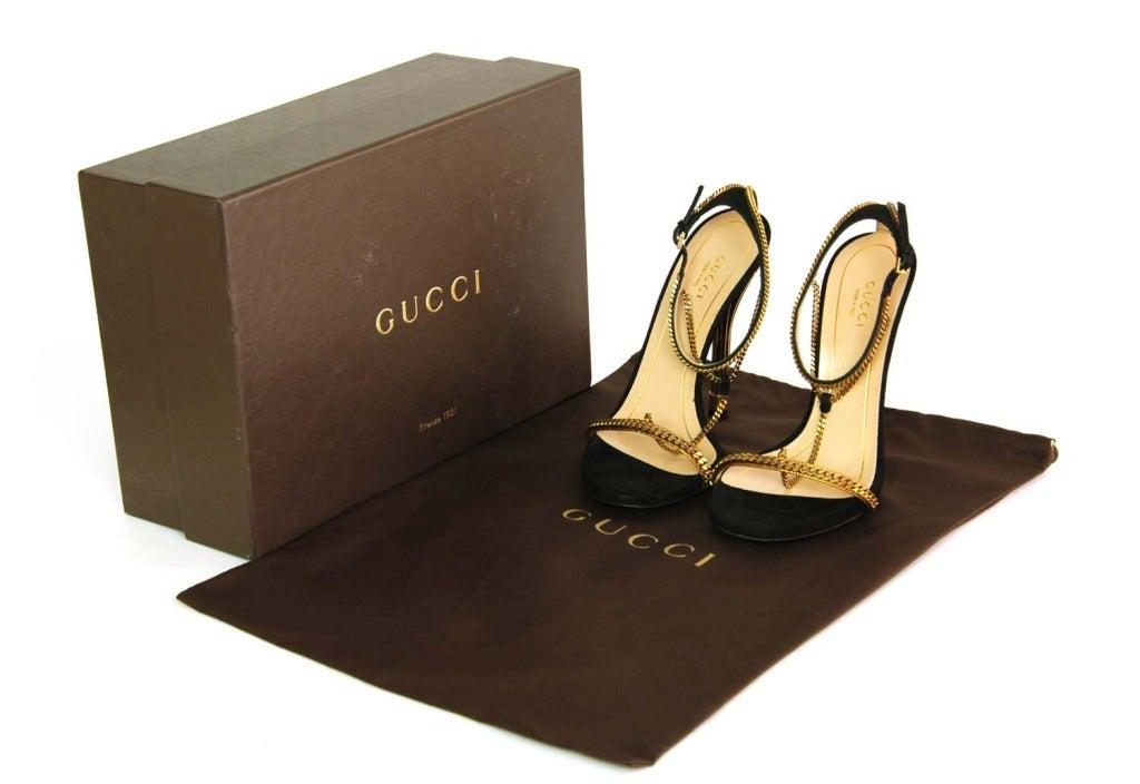 GUCCI NIB 'Ophelie' Black Suede T-Strap Heels Sz. 37/7 RT. $1,495 7