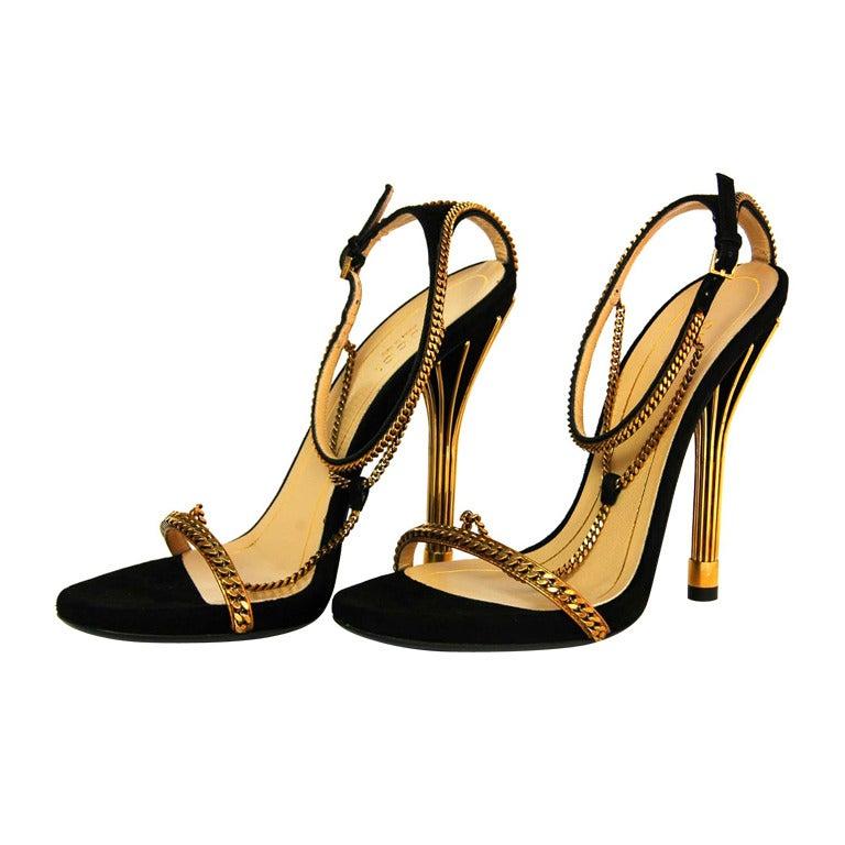 GUCCI NIB 'Ophelie' Black Suede T-Strap Heels Sz. 37/7 RT. $1,495 1
