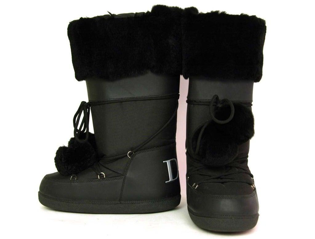 Christian Dior Black Nylon Moon Boots W Fur Sz 41 43 At