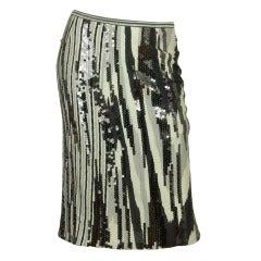 MISSONI Grey Striped Skirt w. Sequins SZ - 8