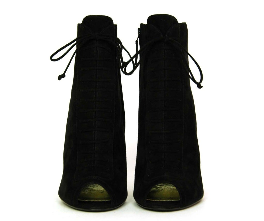 TOM FORD NEW IN BOX Black Suede Lace Up Peep Toe Booties Sz. 39.5 image 2