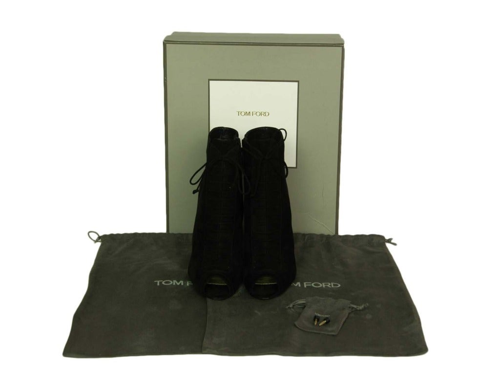 TOM FORD NEW IN BOX Black Suede Lace Up Peep Toe Booties Sz. 39.5 image 3