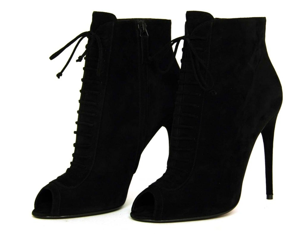 TOM FORD NEW IN BOX Black Suede Lace Up Peep Toe Booties Sz. 39.5 image 4