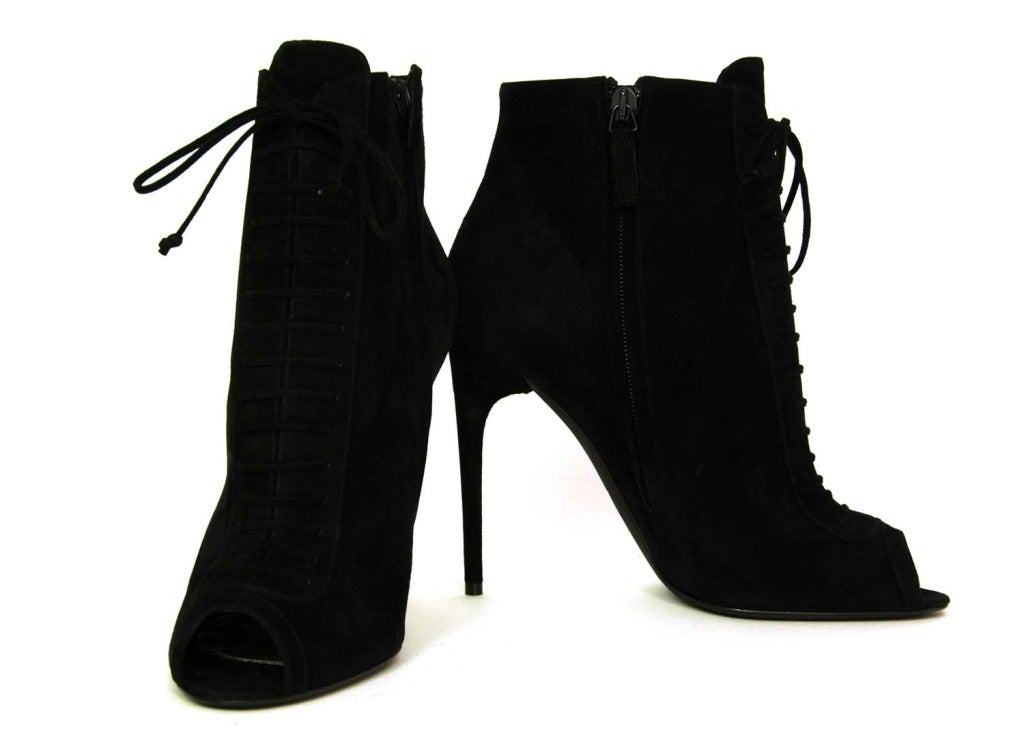 TOM FORD NEW IN BOX Black Suede Lace Up Peep Toe Booties Sz. 39.5 image 8