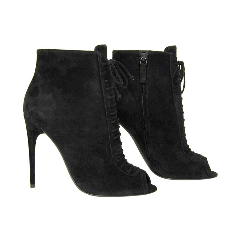 TOM FORD NEW IN BOX Black Suede Lace Up Peep Toe Booties Sz. 39.5