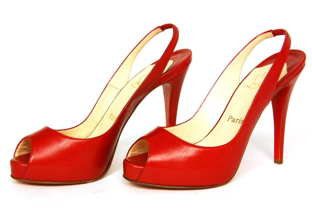 CHRISTIAN LOUBOUTIN Red Leather Peeptoe Platform Slingback Heels RT. $755 Sz. 39 3