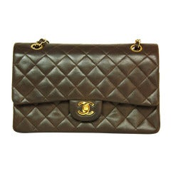 CHANEL Vintage Brown Lambskin Leather Classic Double Flap Bag