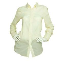 Dolce & Gabbana Ivory Longsleeve Button Up Silk Blouse SZ - 10