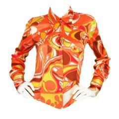 PUCCI Orange/White Silk Long Sleeve Blouse SZ - Small