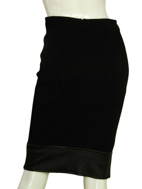 givenchy black pencil skirt w leather trim sz 2 at 1stdibs