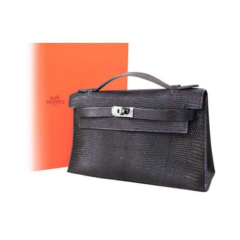 Hermes Black Lizard Kelly Pochette Bag PHW at 1stdibs