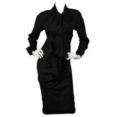 DONNA KARAN Black Long Sleeve Top w. Deep V-Neck and Skirt SZ - 2
