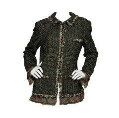 CHANEL Black & Pink Tweed Jacket SZ - 14