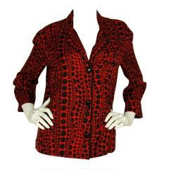 LOUIS VUITTON Red/Black Polka Dot Kusama Collection Blouse Sz. M/L