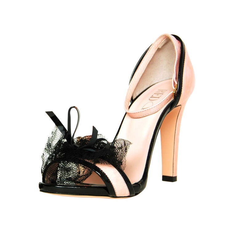 Red Valentino New Pink Sandal Heels with Lace Rose and ...