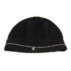 CHANEL Black Cashmere Hat w. Silver Chain and CC