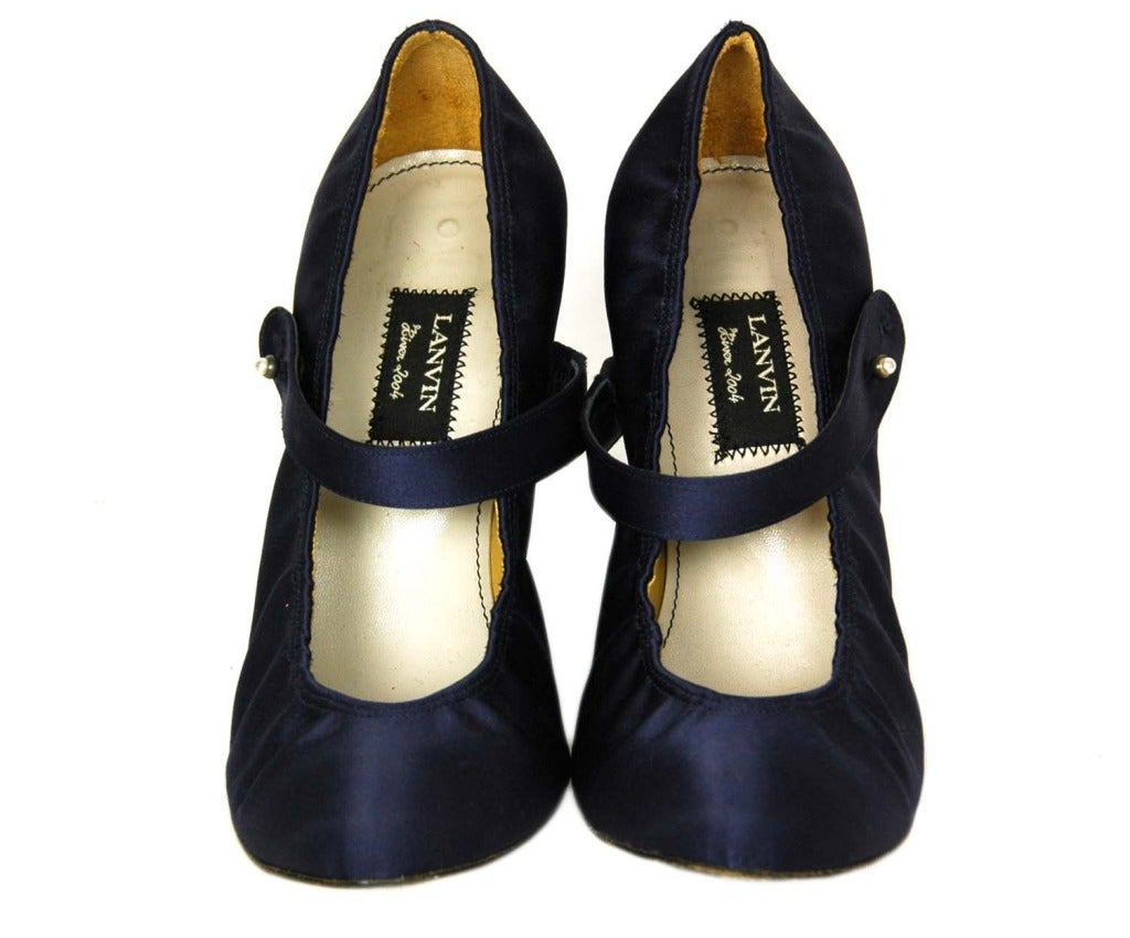 Lanvin Navy Blue Satin Mary Jane Heels Sz 38 5 At 1stdibs