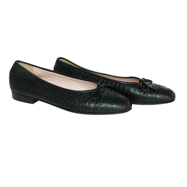 chanel black python ballet flat shoes size 6 5 at 1stdibs